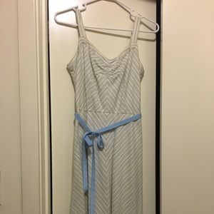 Ann Taylor Loft Cream and Blue Aline Pattern Dress